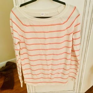 Gap sweater with pink and coral stripes